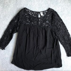 Old Navy Black Top with Lace Sleeves
